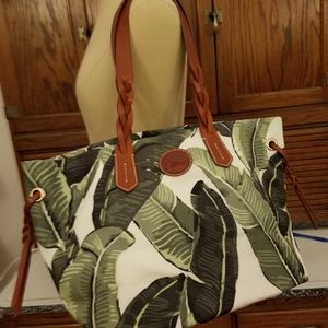 Dooney & Bourke large palm leaf & Leather tote
